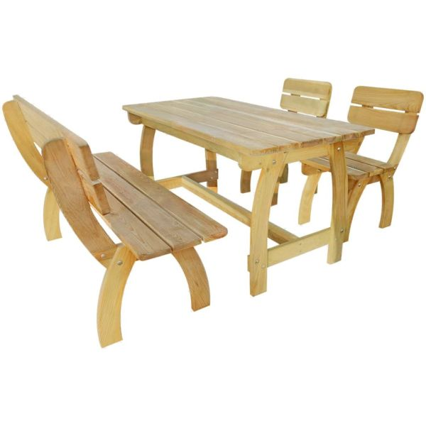 vidaXL Set mobilier de exterior, 4 piese, lemn de pin tratat