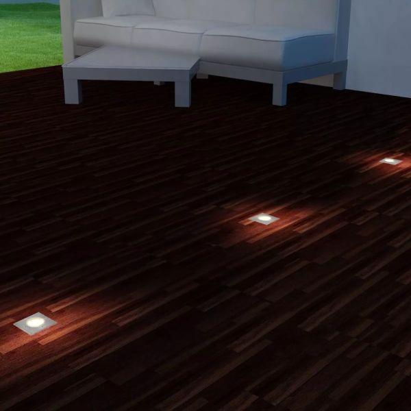vidaXL Corpuri de iluminat cu LED de exterior sol, 3 buc, pătrat