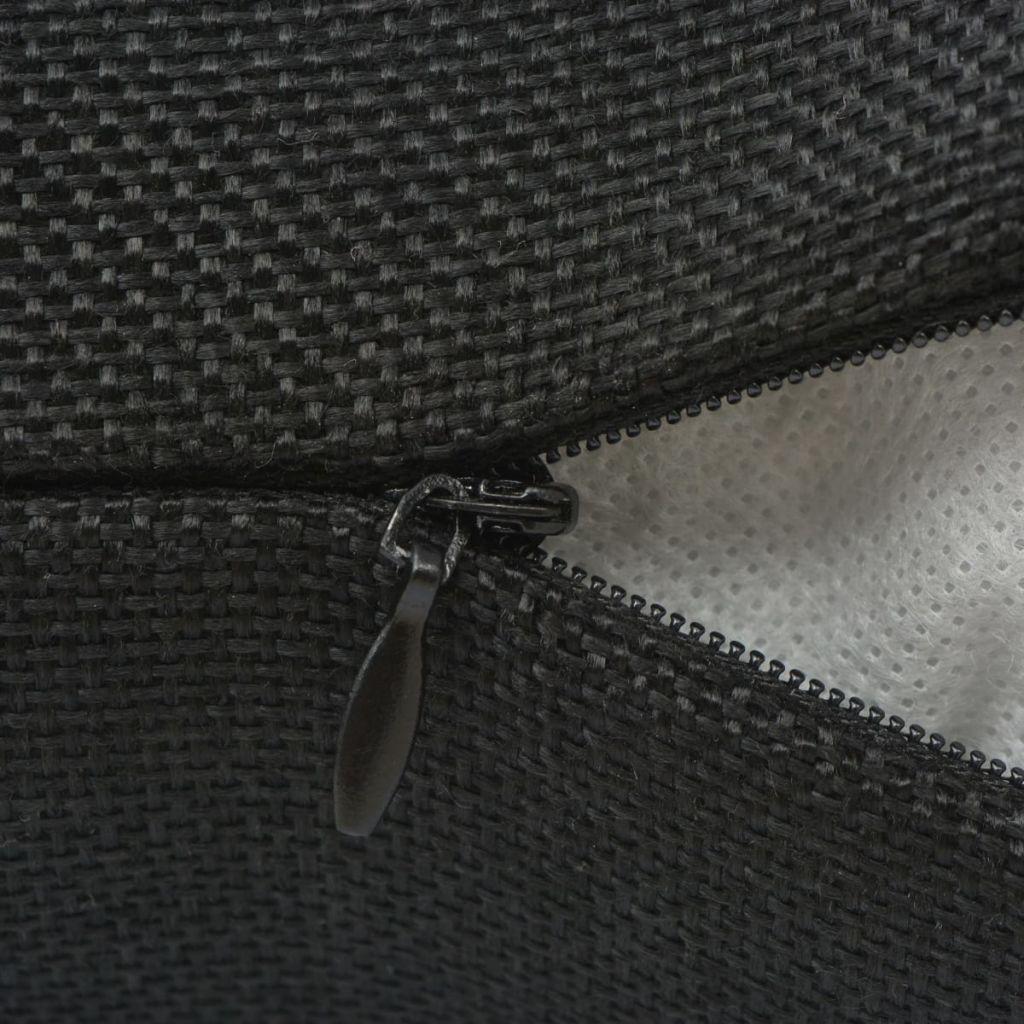 Huse de pernă cu aspect de pânză, 80 x 80 cm, negru, 4 buc.