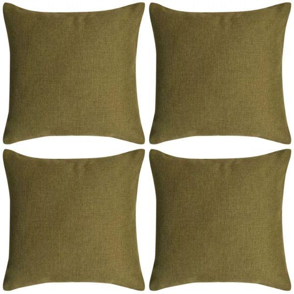vidaXL Huse de pernă cu aspect de in, 50 x 50 cm, verde, 4 buc.