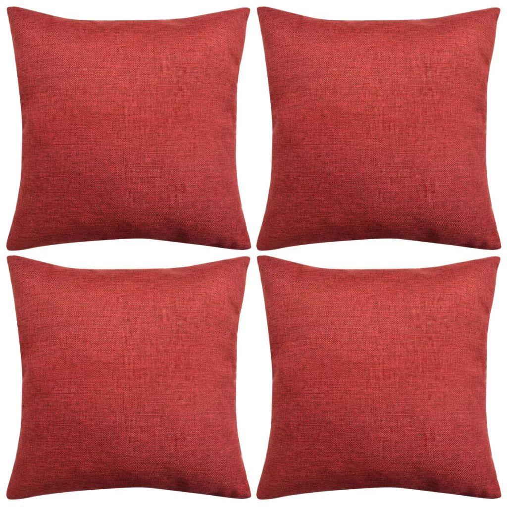 vidaXL Huse de pernă cu aspect de in, 50 x 50 cm, roșu burgund, 4 buc.