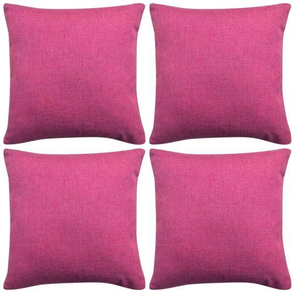 vidaXL Huse de pernă cu aspect de in 50 x 50 cm, roz, 4 buc.
