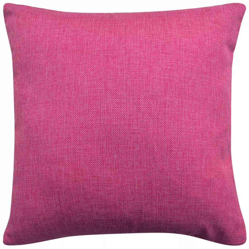 vidaXL Huse de pernă cu aspect de pânză, 80 x 80 cm, roz, 4 buc.