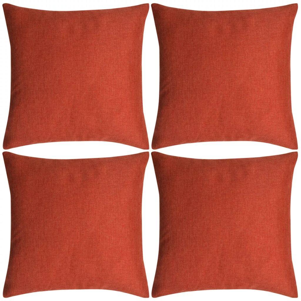 vidaXL Huse de pernă cu aspect de in, 50 x 50 cm, teracotă, 4 buc.