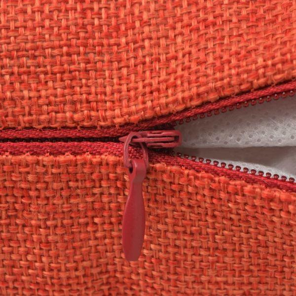 Huse de pernă cu aspect de in, 50 x 50 cm, teracotă, 4 buc.