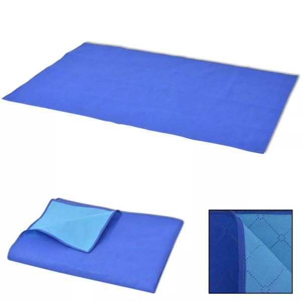 vidaXL Pătură pentru picnic, albastru și bleu, 100 x 150 cm