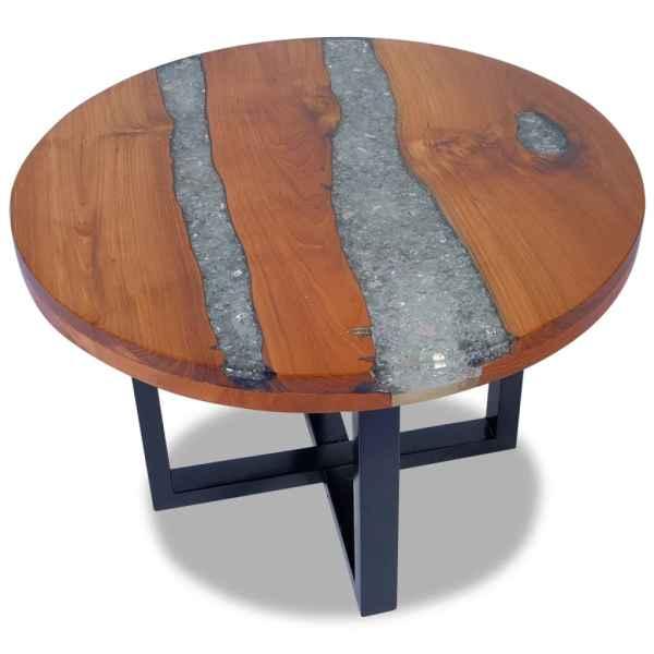 vidaXL Masă de cafea finisată cu rășină epoxidică 60 cm