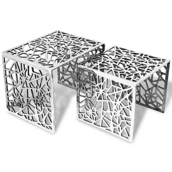 vidaXL Set de mese laterale 2 buc. Pătrat Aluminiu Argintiu