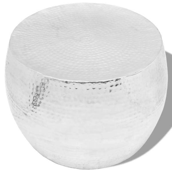 vidaXL Masă de cafea rotundă din aluminiu, argintiu