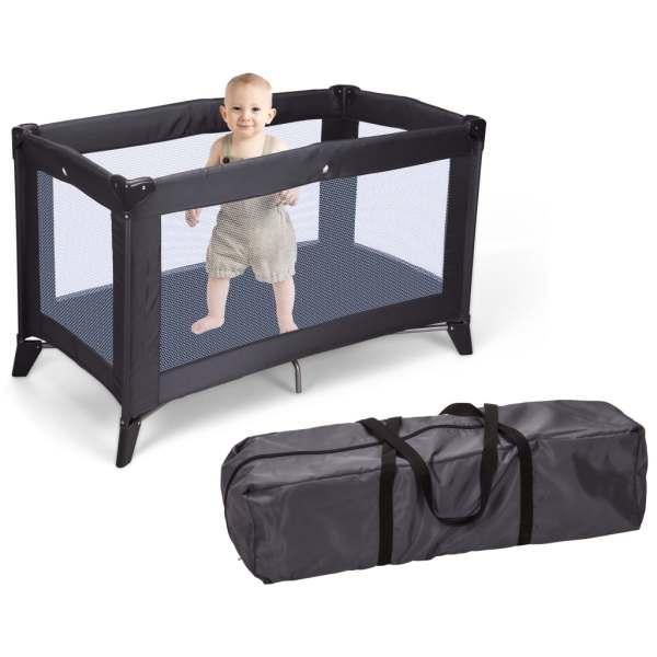 Home&Styling Pătuț de copil pliabil cu saltea, gri închis