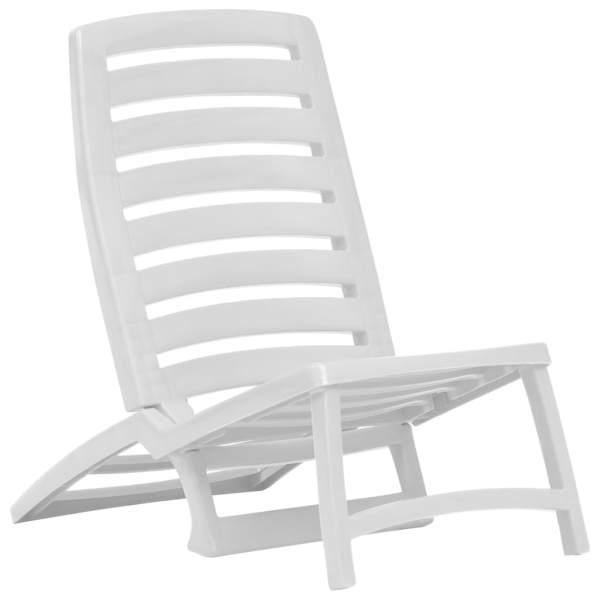 Scaun de plajă pliant, 4 buc., alb, plastic