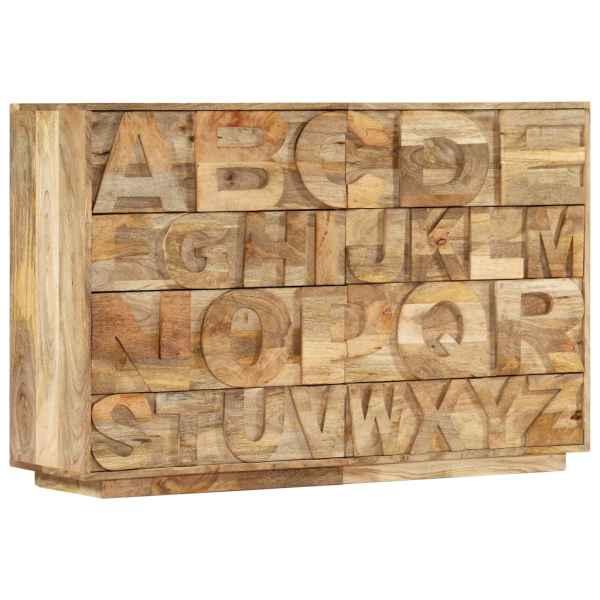 vidaXL Comodă alfabet cu 6 sertare, 120x35x79 cm, lemn masiv de mango