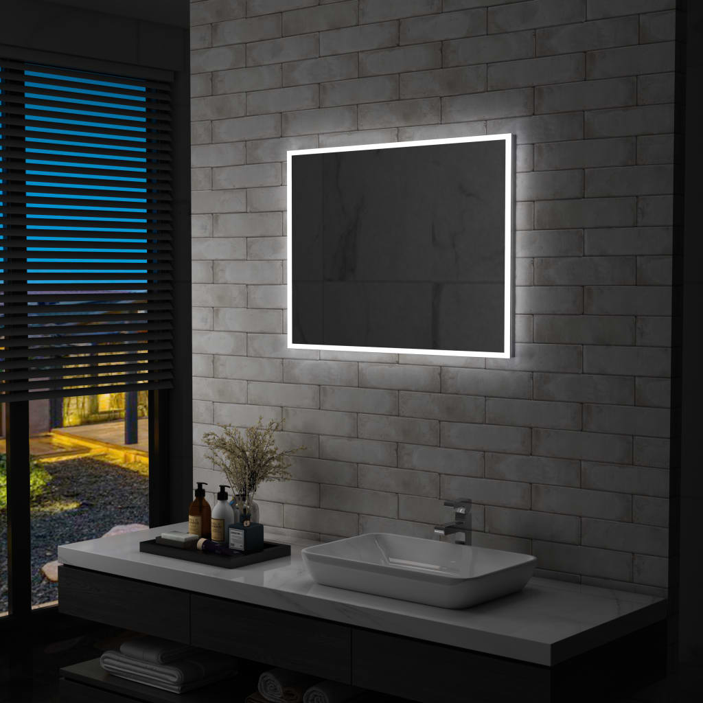 vidaXL Oglindă cu LED de perete pentru baie, 80 x 60 cm