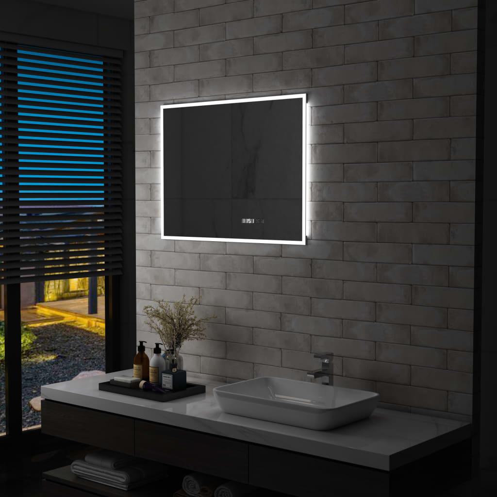 vidaXL Oglindă cu LED de baie cu senzor tactil și afișaj oră, 80×60 cm