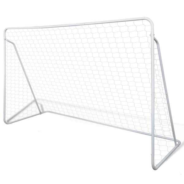 vidaXL Porți de fotbal cu plasă, 2 buc, 240 x 90 x 150 cm, oțel