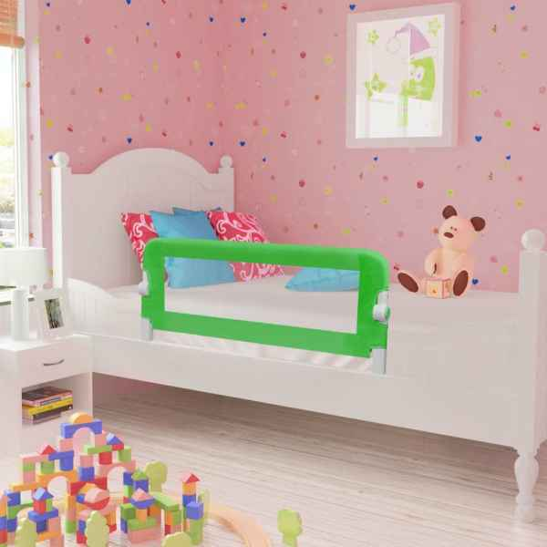 vidaXL Balustradă de pat protecție copii, 2 buc., verde, 102 x 42 cm