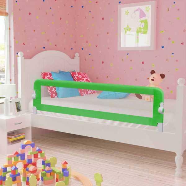 vidaXL Balustradă de pat protecție copii, 2 buc., verde, 150 x 42 cm
