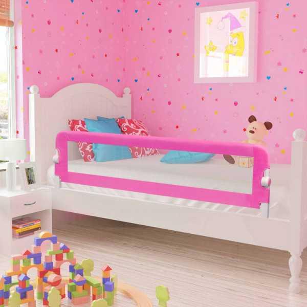 vidaXL Balustradă de pat protecție copii, 2 buc., roz, 150 x 42 cm