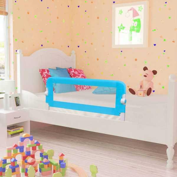 vidaXL Balustradă de pat protecție copii, 2 buc, albastru, 102 x 42 cm