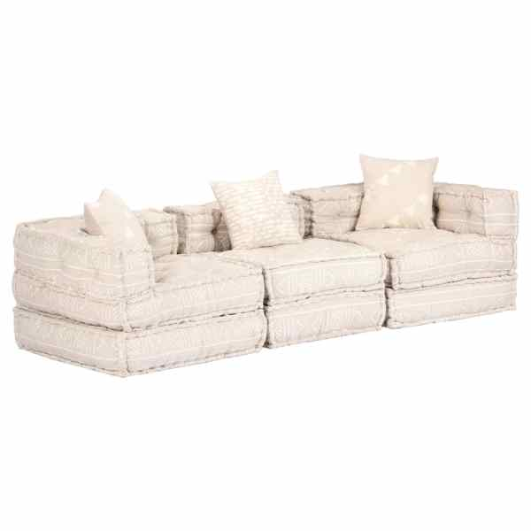 vidaXL Canapea puf modulară cu 3 locuri, bej, material textil