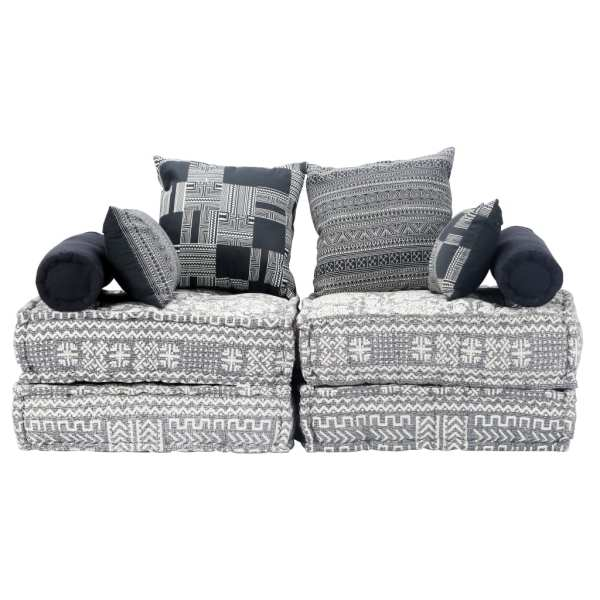Canapea puf modulară cu 2 locuri, gri deschis, material textil
