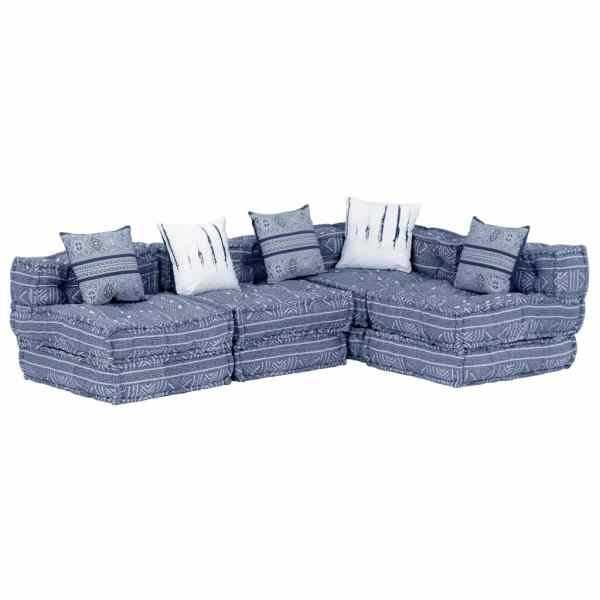 vidaXL Canapea puf modulară cu 4 locuri, indigo, material textil