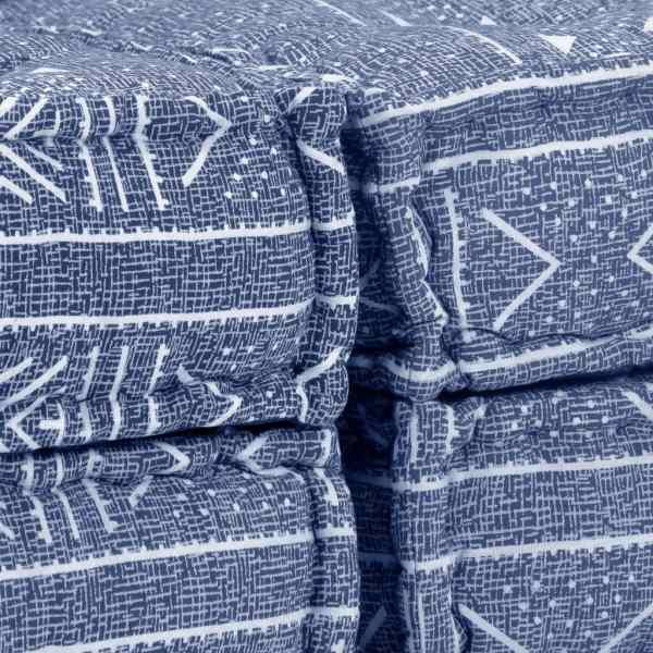 Canapea puf modulară cu 2 locuri, indigo, material textil