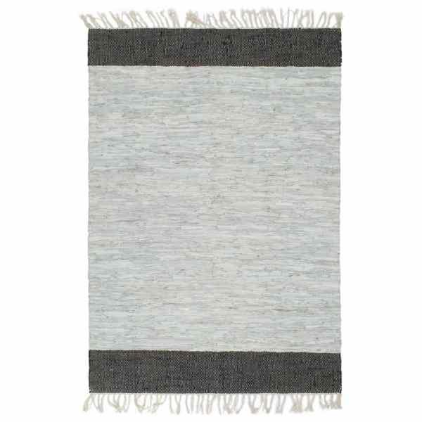 vidaXL Covor Chindi țesut manual, gri și negru, 120×170 cm, piele