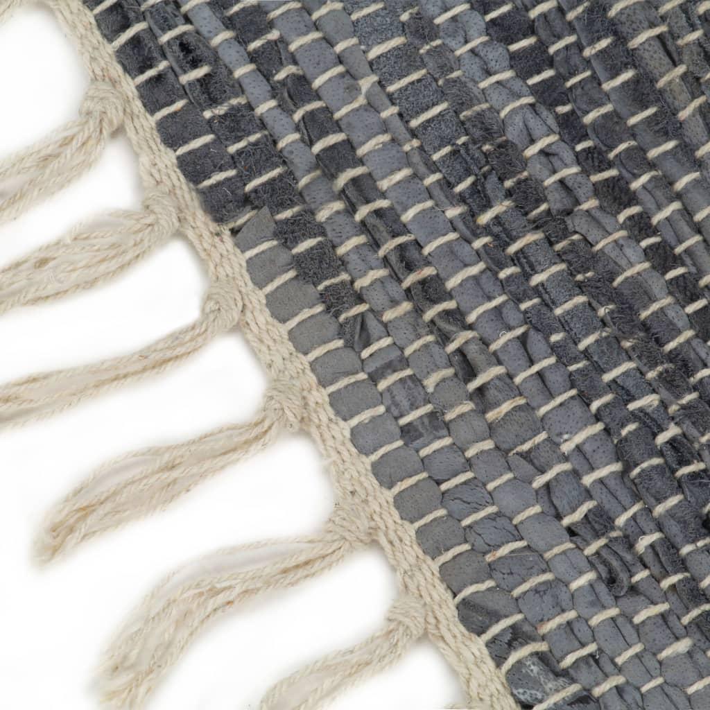vidaXL Covor Chindi țesut manual, gri, 190 x 280 cm, piele