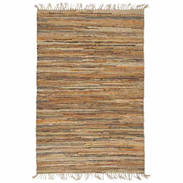 vidaXL Covor Chindi țesut manual, arămiu, 80 x 160 cm, piele și iută