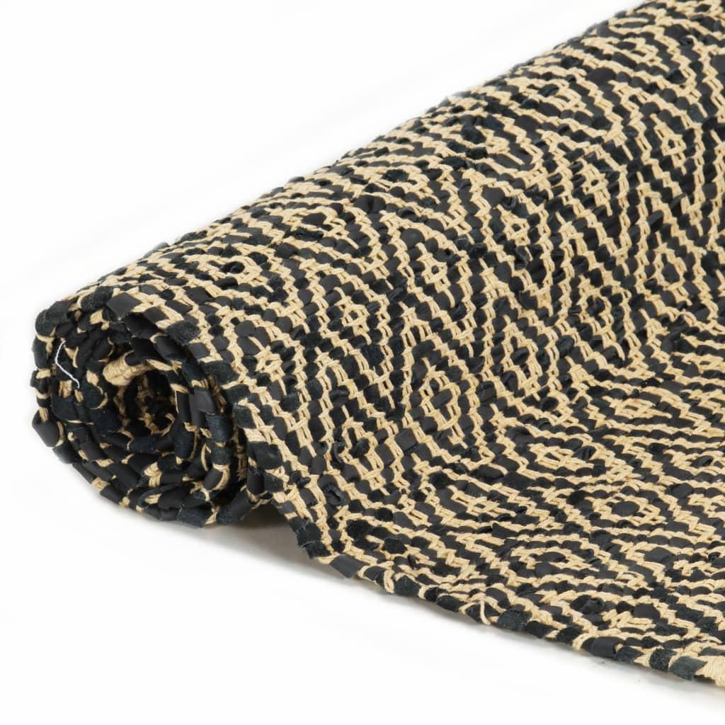 Covor Chindi țesut manual, negru, 120 x 170 cm, bumbac și piele