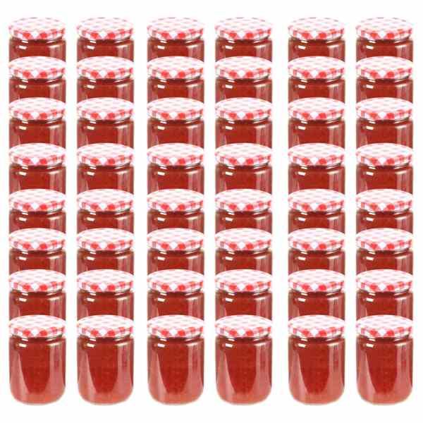 vidaXL Borcane de sticlă pentru gem capac alb și roșu, 48 buc, 230 ml