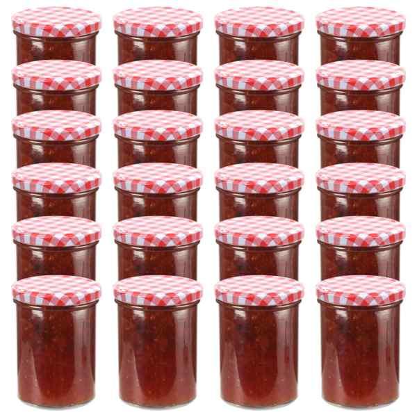 vidaXL Borcane de sticlă pentru gem, capace alb & roșu, 24 buc, 400 ml