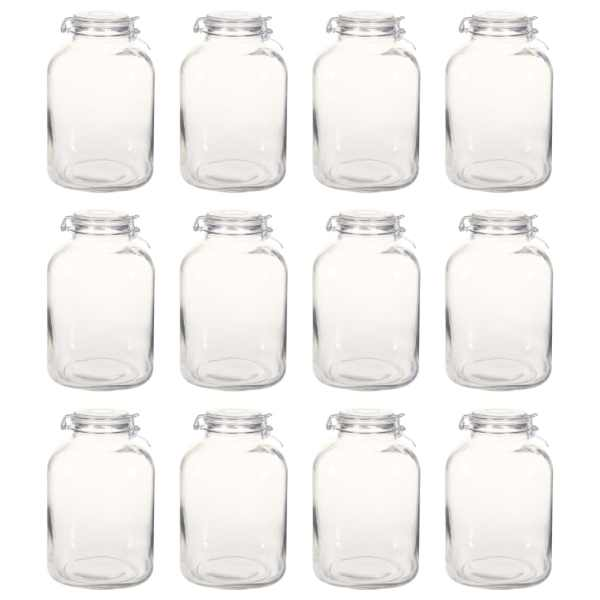 Borcane din sticlă cu închidere ermetică, 12 buc., 5 L