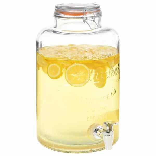 vidaXL Dozator de apă XXL cu robinet, transparent, 8 L, sticlă