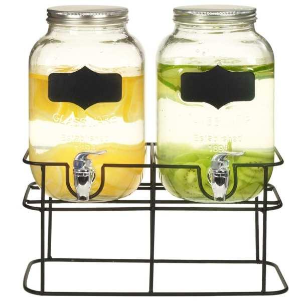 vidaXL Dozatoare de băuturi cu suport, 2 buc., 2 x 4 L, sticlă