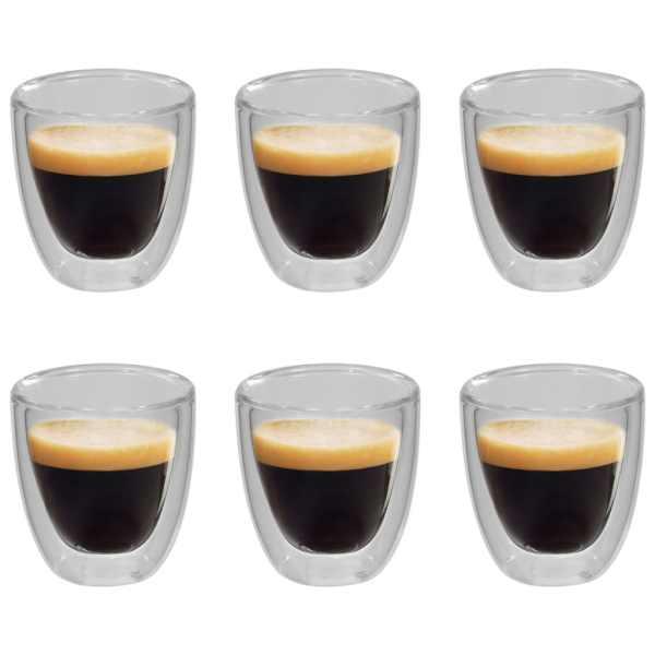 vidaXL Pahar termic perete dublu pentru cafea espresso, 6 buc., 80 ml