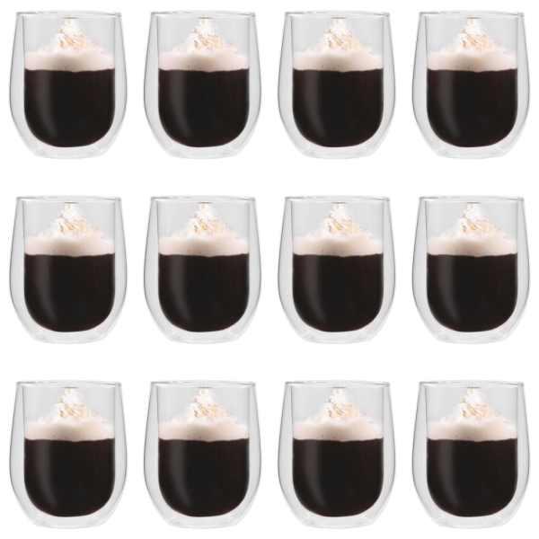 vidaXL Pahare pentru ceai cu pereți dubli, 12 buc., 320 ml