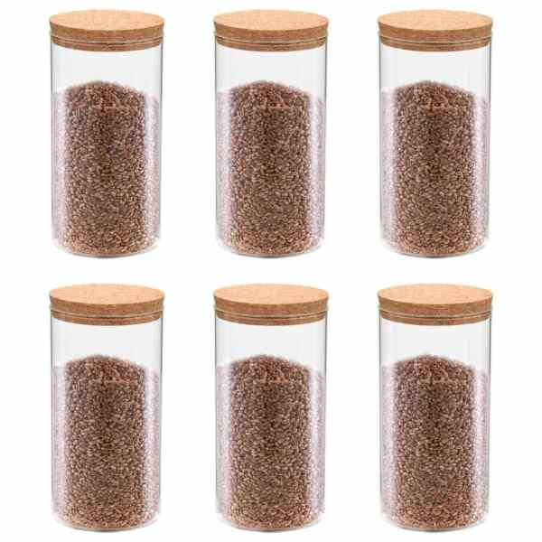 vidaXL Borcane din sticlă depozitare, capac de plută, 6 buc., 1400 ml