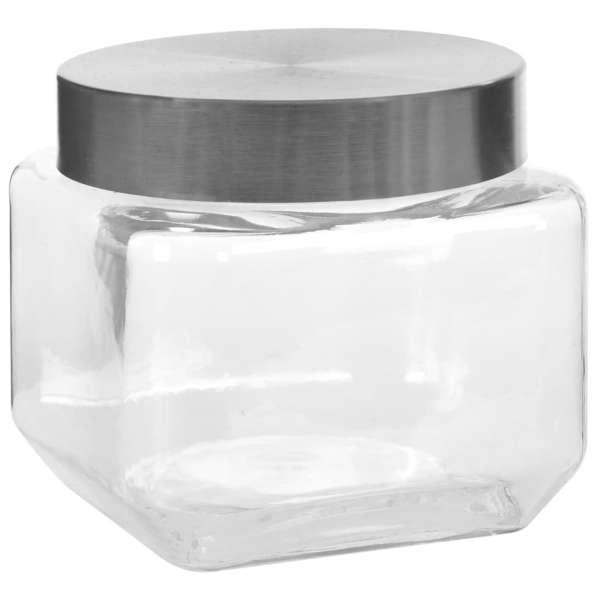 vidaXL Borcane depozitare, capac argintiu, 6 buc., 800 ml
