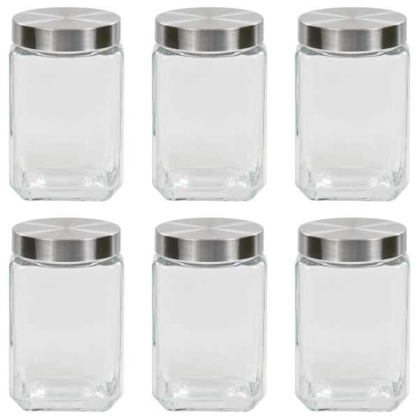 vidaXL Borcane depozitare, capac argintiu, 6 buc., 1700 ml