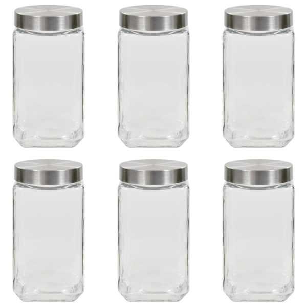 vidaXL Borcane depozitare, capac argintiu, 6 buc., 2100 ml