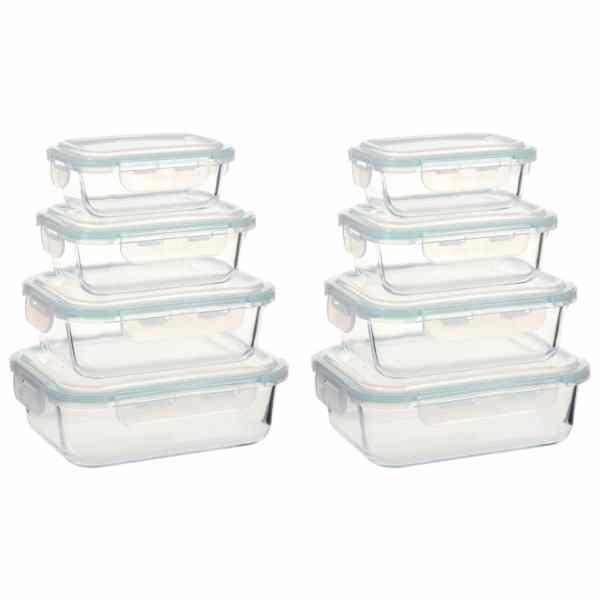 vidaXL Recipiente de depozitare din sticlă pentru alimente, 8 piese