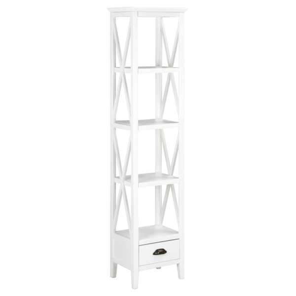 vidaXL Bibliotecă cu 1 sertar, alb, 40x30x170 cm, MDF