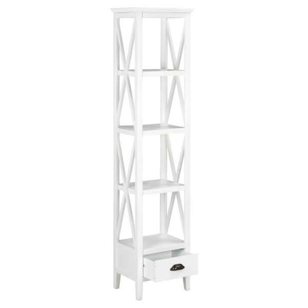 Bibliotecă cu 1 sertar, alb, 40x30x170 cm, MDF