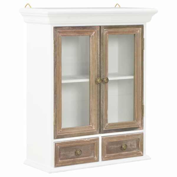 vidaXL Dulap de perete, alb, 49 x 22 x 59 cm, lemn masiv