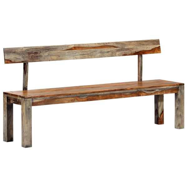vidaXL Bancă, gri, 160 cm, lemn masiv de sheesham