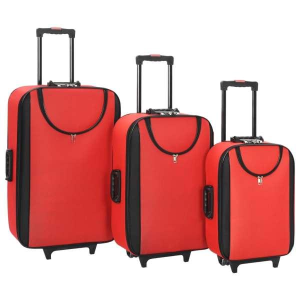 vidaXL Valize cu carcasă flexibilă 3 buc. roșu material textil oxford