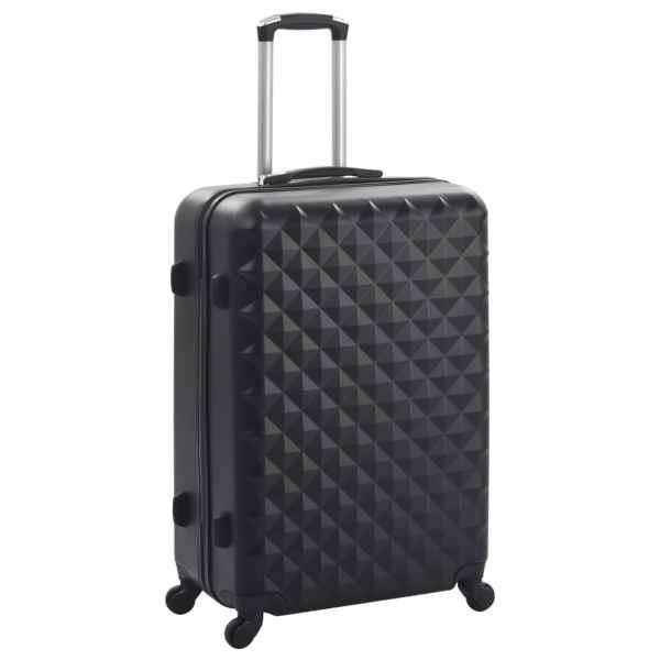 Set valiză carcasă rigidă, 3 buc., negru, ABS