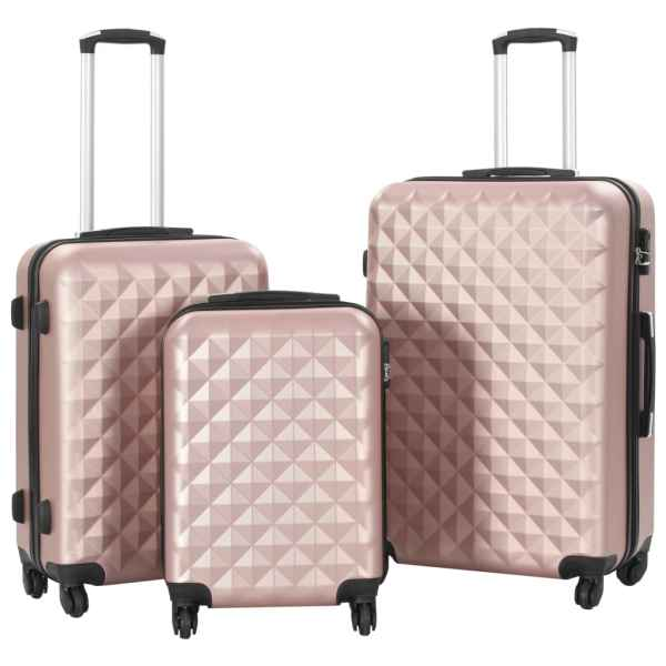 vidaXL Set valiză carcasă rigidă, 3 buc., roz auriu, ABS
